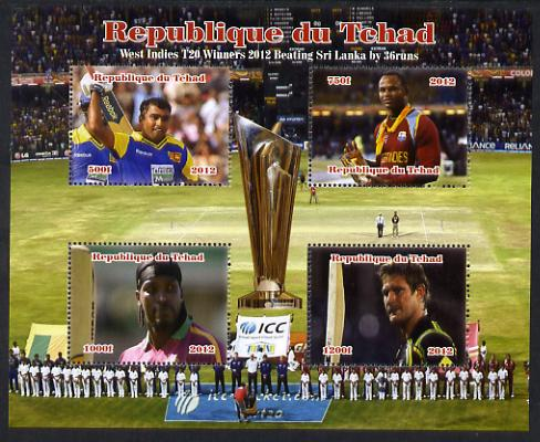 Chad 2012 Cricket T20 - West Indies v Sri Lanka perf sheetlet containing 4 values unmounted mint. Note this item is privately produced and is offered purely on its themat...