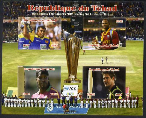 Chad 2012 Cricket T20 - West Indies v Sri Lanka imperf sheetlet containing 4 values unmounted mint. Note this item is privately produced and is offered purely on its thematic appeal.