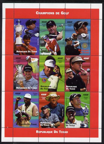 Chad 2002 Champions of Golf perf sheetlet containing 9 values unmounted mint. Note this item is privately produced and is offered purely on its thematic appeal.