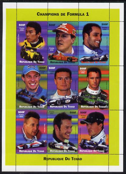 Chad 2002 Champions of Formula 1 perf sheetlet containing 9 values unmounted mint. Note this item is privately produced and is offered purely on its thematic appeal.