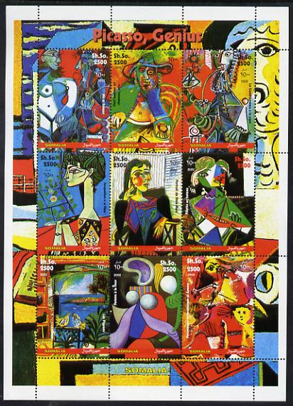Somalia 2002 Pablo Picasso perf sheetlet containing 9 values unmounted mint. Note this item is privately produced and is offered purely on its thematic appeal