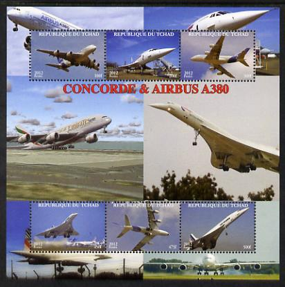 Chad 2012 Concorde & Airbus perf sheetlet containing 6 values unmounted mint. Note this item is privately produced and is offered purely on its thematic appeal.