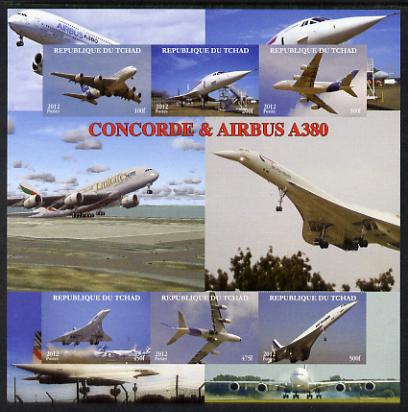 Chad 2012 Concorde & Airbus imperf sheetlet containing 6 values unmounted mint. Note this item is privately produced and is offered purely on its thematic appeal.
