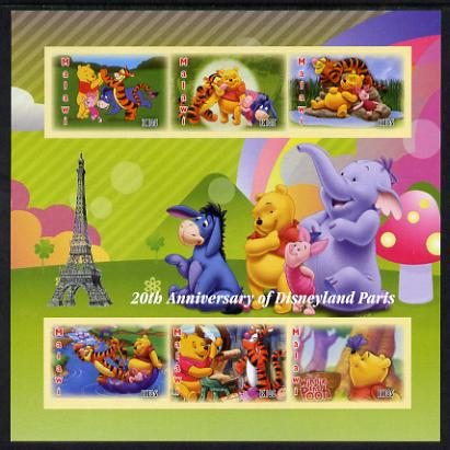 Malawi 2012 20th Anniversary of Disneyland Paris imperf sheetlet containing 6 values unmounted mint. Note this item is privately produced and is offered purely on its thematic appeal, it has no postal validity