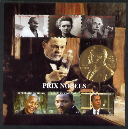Chad 2012 Nobel Prize Winners perf sheetlet containing 6 values unmounted mint. Note this item is privately produced and is offered purely on its thematic appeal.