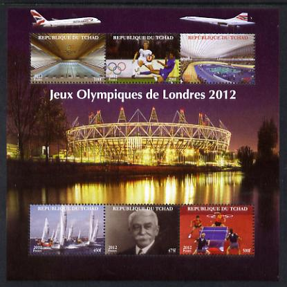 Chad 2012 London Olympic Games perf sheetlet containing 6 values unmounted mint. Note this item is privately produced and is offered purely on its thematic appeal.