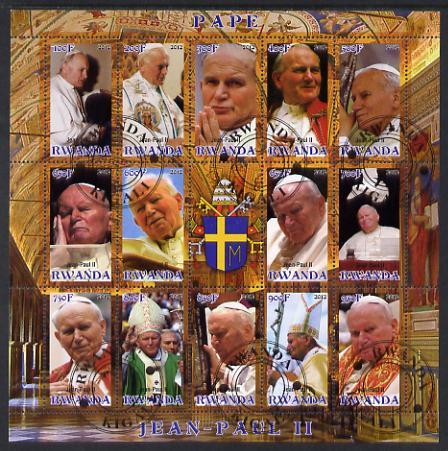 Rwanda 2012 Pope John Paul II #2 perf sheetlet containing 15 (14 values plus label) cto used