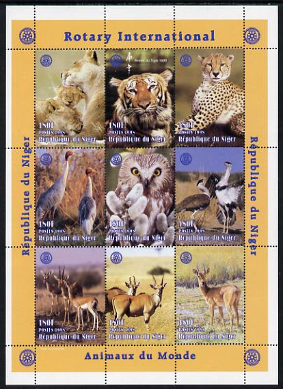 Niger Republic 1998 Animals of the World #1 perf sheetlet containing 9 x 180f values each with Rotary logo unmounted mint. Note this item is privately produced and is offered purely on its thematic appeal Scott #1003
