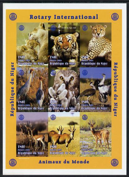 Niger Republic 1998 Animals of the World #1 imperf sheetlet containing 9 x 180f values each with Rotary logo unmounted mint. Note this item is privately produced and is offered purely on its thematic appeal as Scott #1003