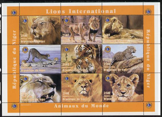 Niger Republic 1998 Animals of the World #2 (Big Cats) perf sheetlet containing 9 x 250f values each with Lions International logo unmounted mint. Note this item is privately produced and is offered purely on its thematic appeal Scott #1004
