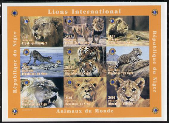 Niger Republic 1998 Animals of the World #2 (Big Cats) imperf sheetlet containing 9 x 250f values each with Lions International logo unmounted mint. Note this item is privately produced and is offered purely on its thematic appeal as Scott #1004