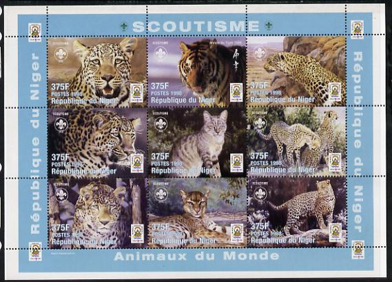 Niger Republic 1998 Animals of the World #3 (Big Cats) perf sheetlet containing 9 x 375f values each with Scouts logo unmounted mint. Note this item is privately produced and is offered purely on its thematic appeal Scott #1005