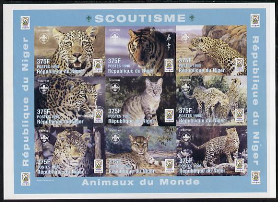 Niger Republic 1998 Animals of the World #3 (Big Cats) imperf sheetlet containing 9 x 375f values each with Scouts logo unmounted mint. Note this item is privately produced and is offered purely on its thematic appeal as Scott #1005