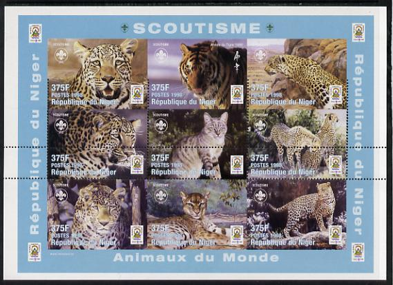 Niger Republic 1998 Animals of the World #3 (Big Cats) part imperf sheetlet containing 9 x 375f values each with Scouts logo unmounted mint as Scott #1005