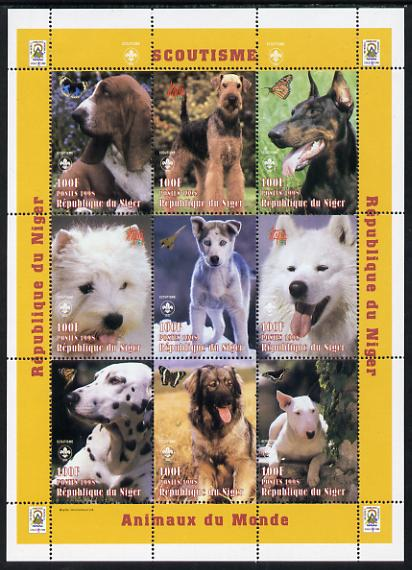 Niger Republic 1998 Animals of the World #4 (Dogs) perf sheetlet containing 9 x 100f values each with Scouts logo unmounted mint. Note this item is privately produced and is offered purely on its thematic appeal Scott #1009