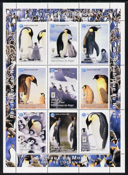Niger Republic 1998 Animals of the World #5 (Penguins) perf sheetlet containing 9 x 300f values each with Year of the Ocean logo unmounted mint. Note this item is privately produced and is offered purely on its thematic appeal Scott #1010