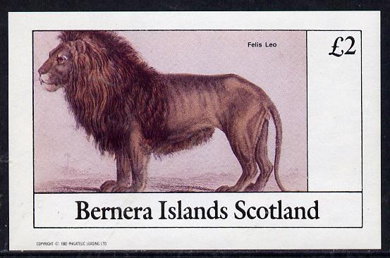 Bernera 1982 Animals (Lion) imperf deluxe sheet (�2 value) unmounted mint