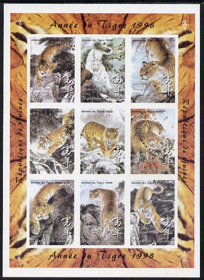 Guinea - Conakry 1998 Chinese New Year - Year of the Tiger imperf sheetlet containing set of 9 values, unmounted mint. Note this item is privately produced and is offered...