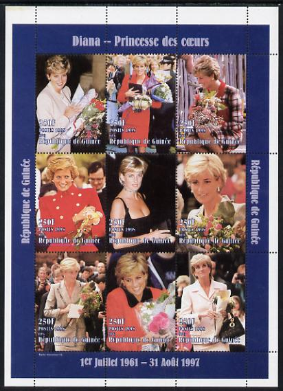 Guinea - Conakry 1998 Princess Diana #3 perf sheetlet containing 9 values (various portraits) unmounted mint. Note this item is privately produced and is offered purely on its thematic appeal