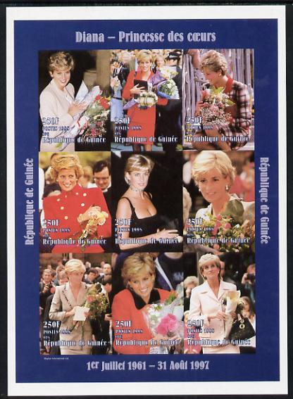 Guinea - Conakry 1998 Princess Diana #3 imperf sheetlet containing 9 values (various portraits) unmounted mint. Note this item is privately produced and is offered purely on its thematic appeal