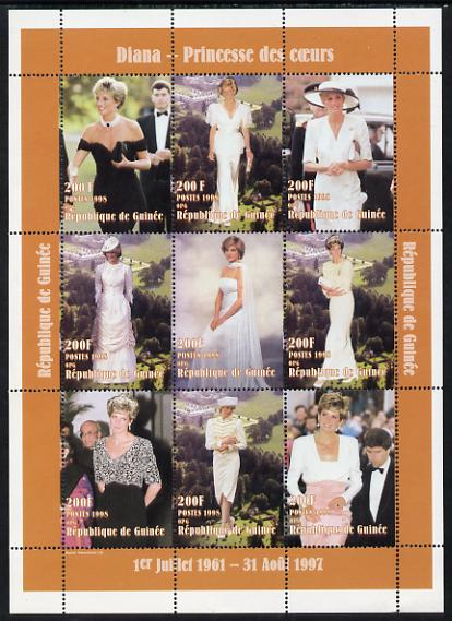 Guinea - Conakry 1998 Princess Diana #1 perf sheetlet containing 9 values (various portraits) unmounted mint. Note this item is privately produced and is offered purely on its thematic appeal