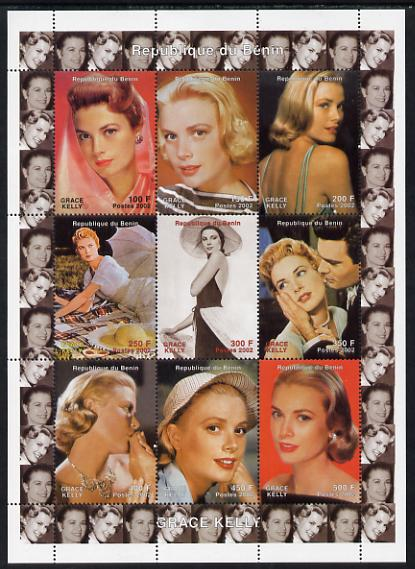 Benin 2002 Grace Kelly #1 perf sheetlet containing 9 values unmounted mint. Note this item is privately produced and is offered purely on its thematic appeal
