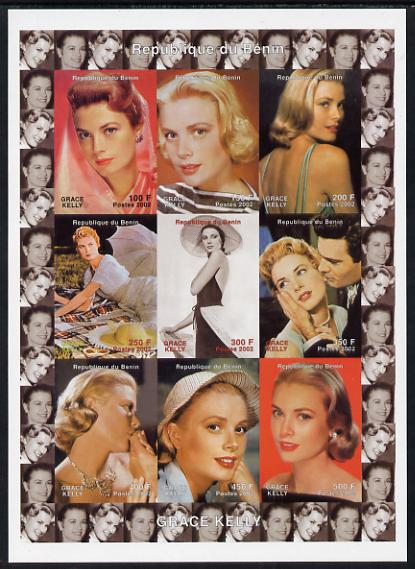 Benin 2002 Grace Kelly #1 imperf sheetlet containing 9 values unmounted mint. Note this item is privately produced and is offered purely on its thematic appeal