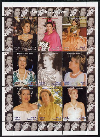 Benin 2002 Grace Kelly #2 perf sheetlet containing 9 values unmounted mint. Note this item is privately produced and is offered purely on its thematic appeal