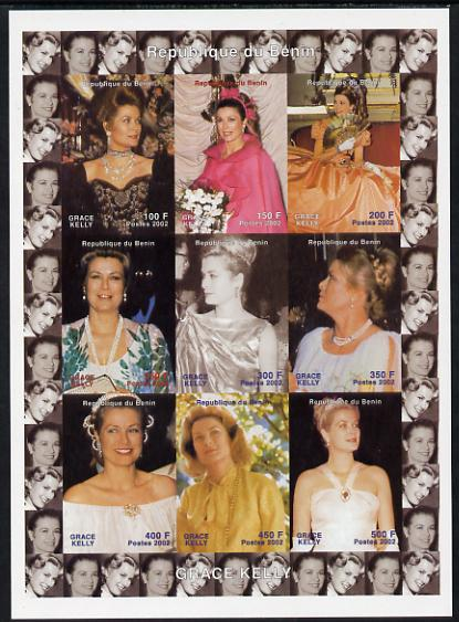 Benin 2002 Grace Kelly #2 imperf sheetlet containing 9 values unmounted mint. Note this item is privately produced and is offered purely on its thematic appeal