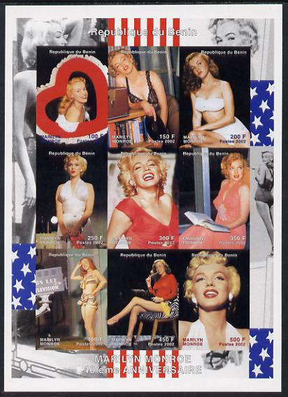 Benin 2002 Marilyn Monroe #3 imperf sheetlet containing set of 9 values unmounted mint. Note this item is privately produced and is offered purely on its thematic appeal