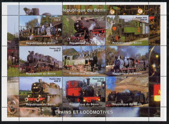 Benin 2002 Steam Locomotives perf sheetlet containing set of 9 values unmounted mint. Note this item is privately produced and is offered purely on its thematic appeal