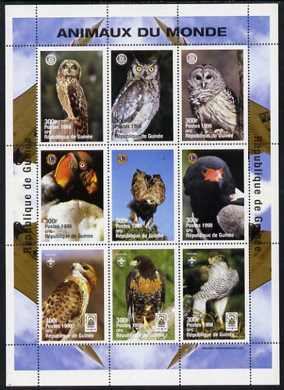 Guinea - Conakry 1998 Animals of the World #2 - Birds perf sheetlet containing 9 values (with Rotary, Lions Int & Scout Logos) unmounted mint. Note this item is privately...