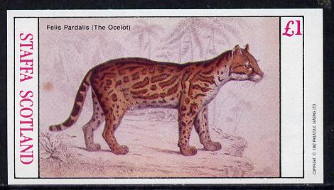 Staffa 1982 Animals (Ocelot) imperf souvenir sheet (�1 value) unmounted mint