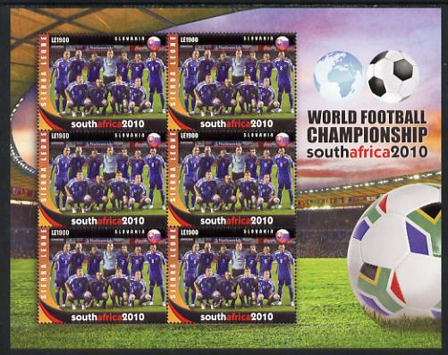 Sierra Leone 2010 Football World Cup Chamipnships - the team from Slovakia in special sheet of 6 unmounted mint as SG 4717