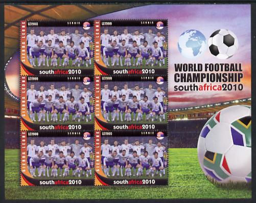 Sierra Leone 2010 Football World Cup Chamipnships - the team from Serbia in special sheet of 6 unmounted mint as SG 4726