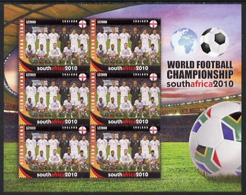 Sierra Leone 2010 Football World Cup Chamipnships - the team from England in special sheet of 6 unmounted mint as SG 4729