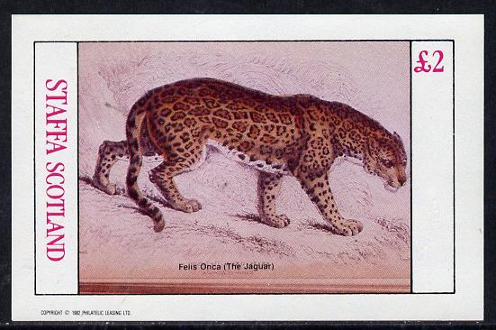 Staffa 1982 Animals (Jaguar) imperf deluxe sheet (�2 value) unmounted mint