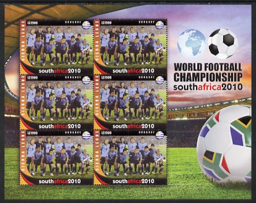 Sierra Leone 2010 Football World Cup Chamipnships - the team from Uruguay in special sheet of 6 unmounted mint as SG 4731