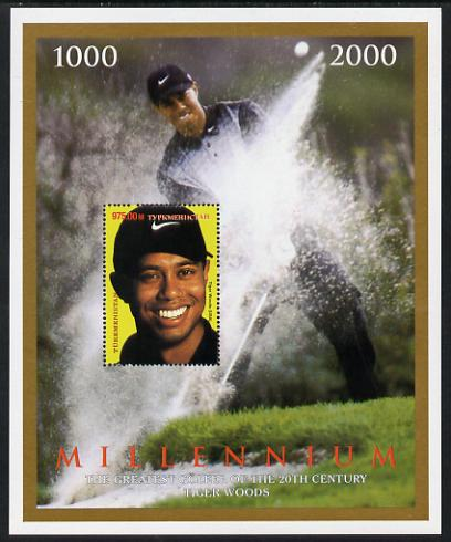 Turkmenistan 2000 Millenium - Tiger Woods, the Greatest Golfer in the 20th Century perf deluxe souvenir sheet unmounted mint. Note this item is privately produced and is offered purely on its thematic appeal