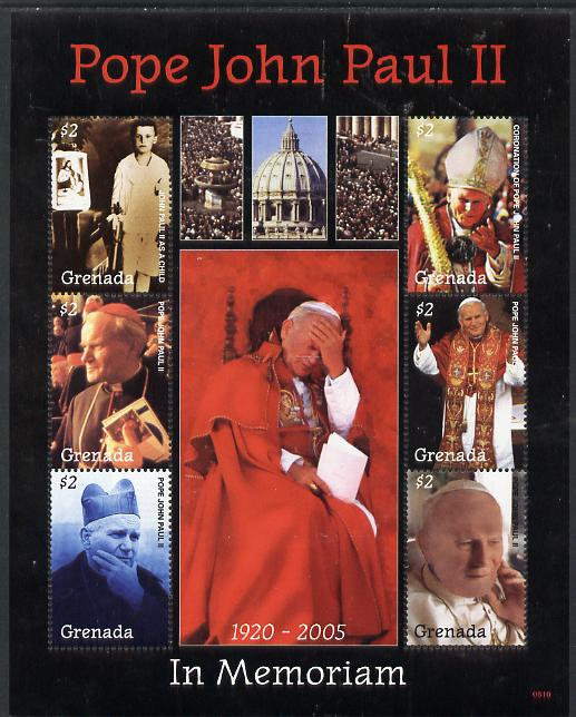 Grenada 2005 Pope John Paull II - In Memoriam perf sheetlet containing 6 values unmounted mint