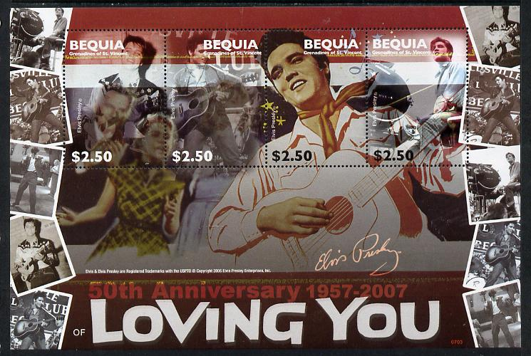 St Vincent - Bequia 2007 Elvis Presley - 50th Anniversary of Loving You perf sheetlet containing 4 values unmounted mint