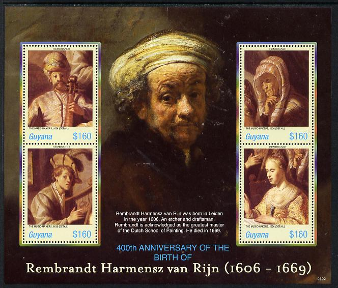 Guyana 2006 Rembrandt 400th Birth Anniversary perf sheetlet containing set of 4 values unmounted mint SG 6571-74