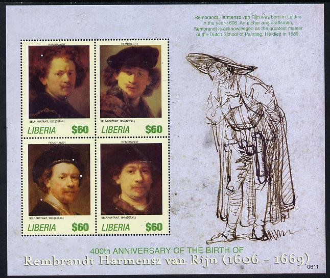 Liberia 2006 Rembrandt 400th Birth Anniversary #1 perf sheetlet containing 4 values unmounted mint