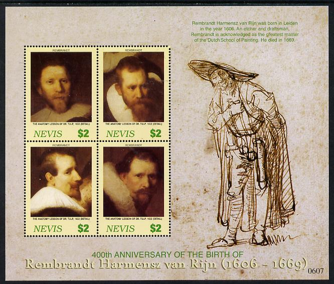 Nevis 2006 Rembrandt 400th Birth Anniversary perf sheetlet containing 4 values unmounted mint