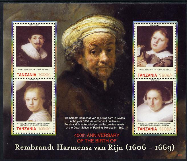 Tanzania 2006 Rembrandt 400th Birth Anniversary perf sheetlet containing 4 values unmounted mint