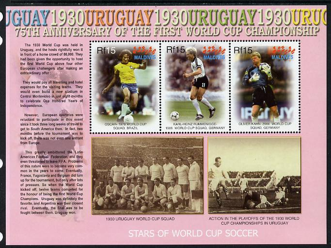 Maldive Islands 2005 Football - 75th Anniversary of First World Cup perf sheetlet containing 3 values unmounted mint. Note this item is privately produced and is offered purely on its thematic appeal