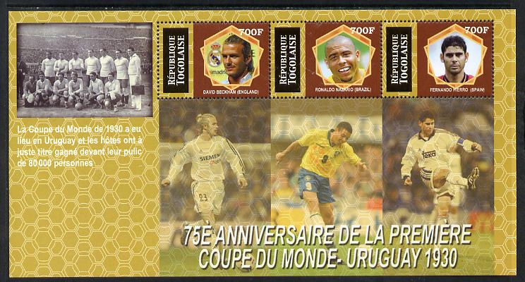 Togo 2005 Football - 75th Anniversary of First World Cup perf sheetlet containing 3 values unmounted mint. Note this item is privately produced and is offered purely on its thematic appeal