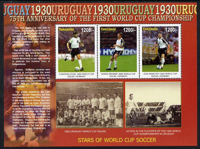 Tanzania 2005 Football - 75th Anniversary of First World Cup perf sheetlet containing 3 values unmounted mint