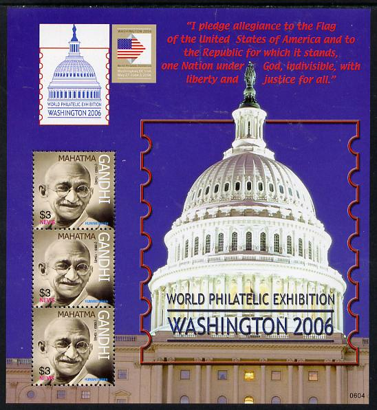 Nevis 2006 Washington Stamp Exhibition (Mahatma Gandhi) perf sheetlet containing 3 values unmounted mint