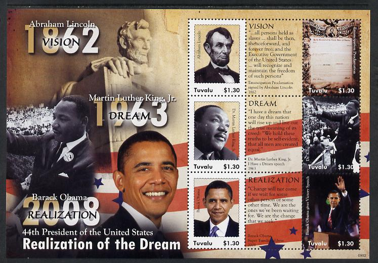 Tuvalu 2009 Barack Obama - 44th President of the United States perf sheetlet containing 6 values & 3 labels unmounted mint